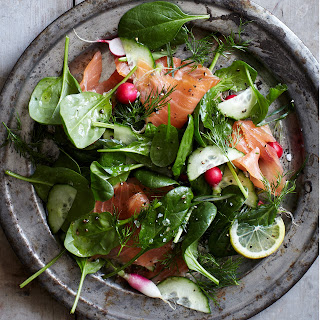 Spinach and Smoked Salmon Salad with Lemon-Dill Dressing.