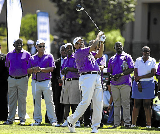 Driving into the future: President Jacob Zuma plays golf with cabinet ministers and other VIPs. The ANC's conference in December, at which new leadership will be elected, will decide SA's future. Picture: ESA ALEXANDER