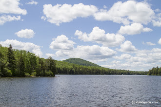 Photo: Mountain views from the water at Kettle Poind State Park by Karalyn Mark