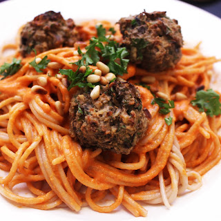 Eggplant Meatballs with Roasted Red Pepper Tahini Pasta.
