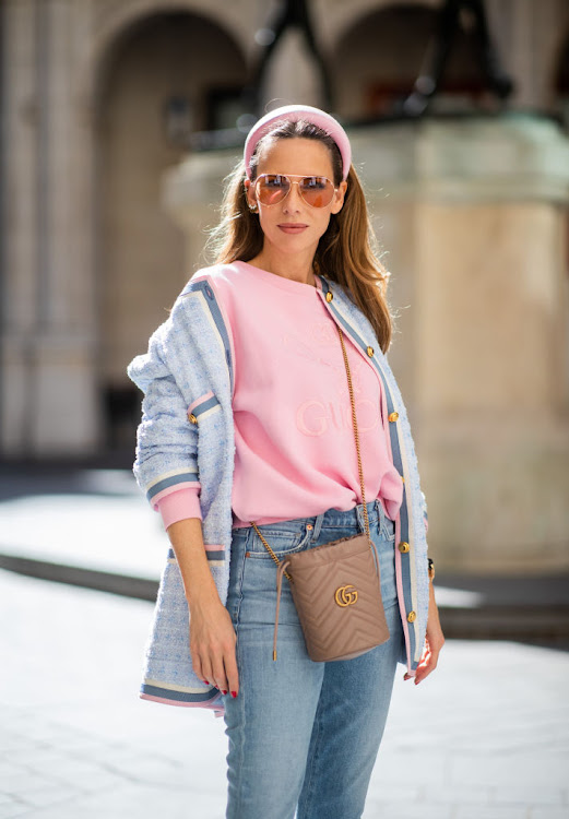 Style blogger Alexandra Lapp sporting a headband by Prada.