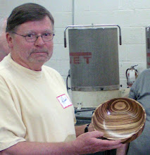 Photo: Richard Webster with his striking zebrawood bowl.