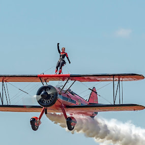 Victory... by Martin Namesny - Transportation Airplanes ( amazing, airplanes, woman, airplane, aircraft, acrobat, woman on the wing, show, hazardous, airshow )