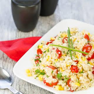 Quinoa, Corn and Tomato Salad with Cotija Cheese.