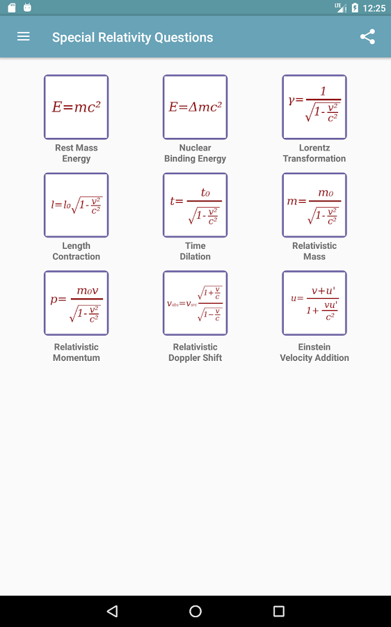 Special Relativity Questions- screenshot