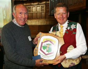 Photo: Elmer kennedy receiving The Ballycarry Shield for 2 jars of light honey rom INIB President Bill Turnbull