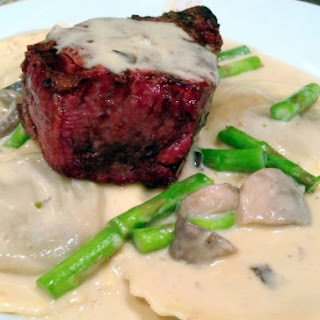 Filet Mignon au Poivre over Portobello Ravioli