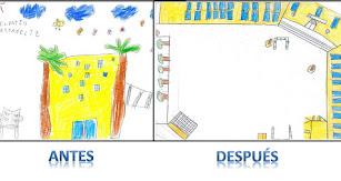 Así fue siempre el patio de nuestro cole y así es ahora. Dibujos de 1º y 4º.