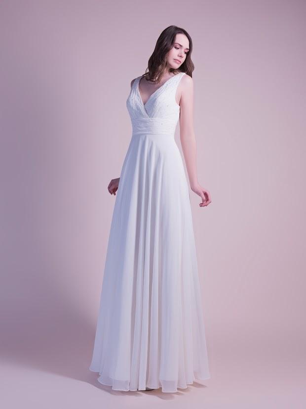 Robe de mariée Dina, robe de mariée empire, robe de mariée dos nu, robe de mariée fluide en mousseline