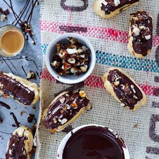 Chocolate Eclairs with Espresso Cream and Toffee Hazelnuts Gluten Free