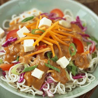 Noodle and Tofu Bowl with Peanut Sauce.