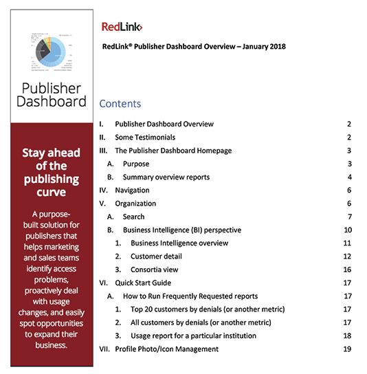 RedLink Publisher Dashboard