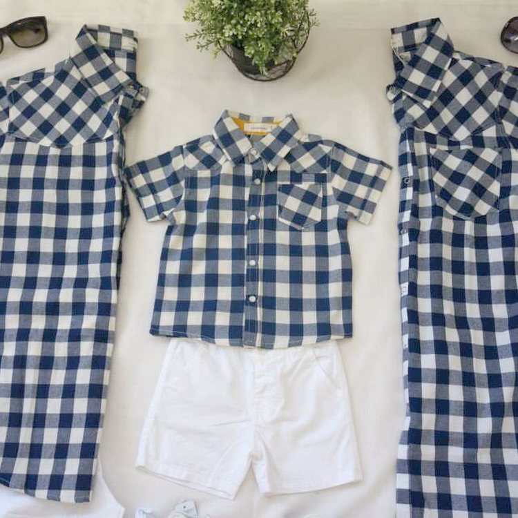 [3 Pieces] Blue & White Grid Collar Shirts by Purple Grape Garment