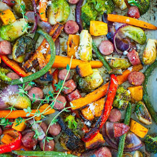 Sheet Pan Roasted Vegetables with Sausage.