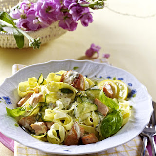 Zucchini and Salmon Tagliatelle