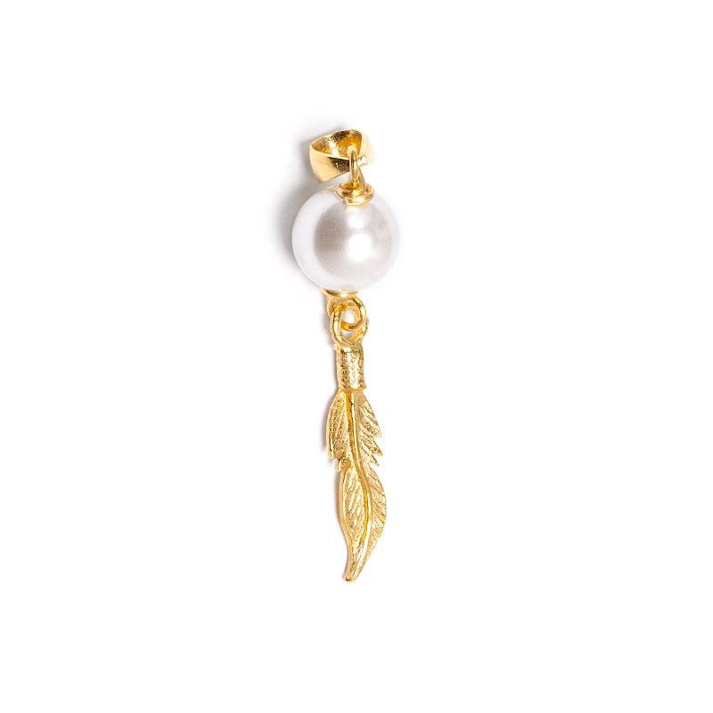 Pärlemor, fjäderhänge i guldpläterad mässing