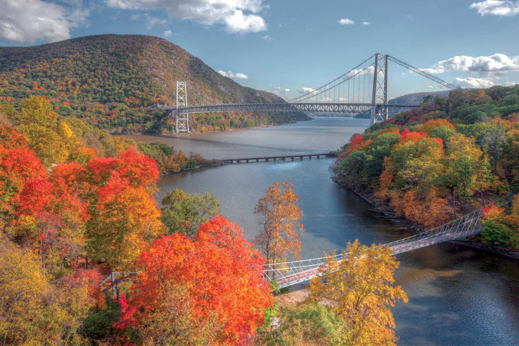 See Bear Mountain Bridge and colorful fall foliage on a cruise up the Hudson River on an American River Cruises sailing.