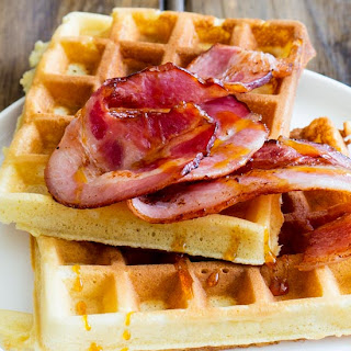 Maple Syrup Waffles with Glazed Bacon.