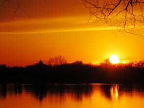 Photo: Gorgeous, fiery sunset at Eastwood Park lake in Dayton, Ohio.