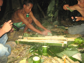 Photo: Cooking use bamboo-Trekking in Luang Namtha, Laos