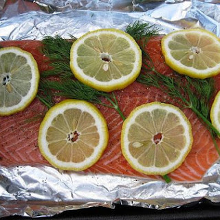 Roasted Salmon With Lemon and Dill.