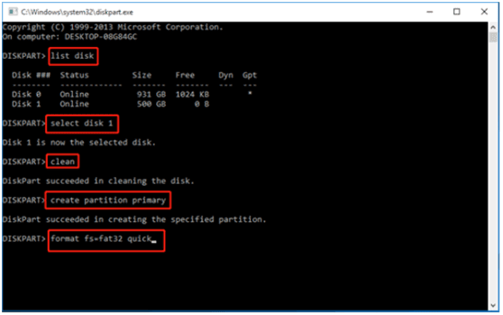 diskpart command to convert to NTFS