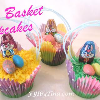 Easy Cute Easter Basket Cupcakes.