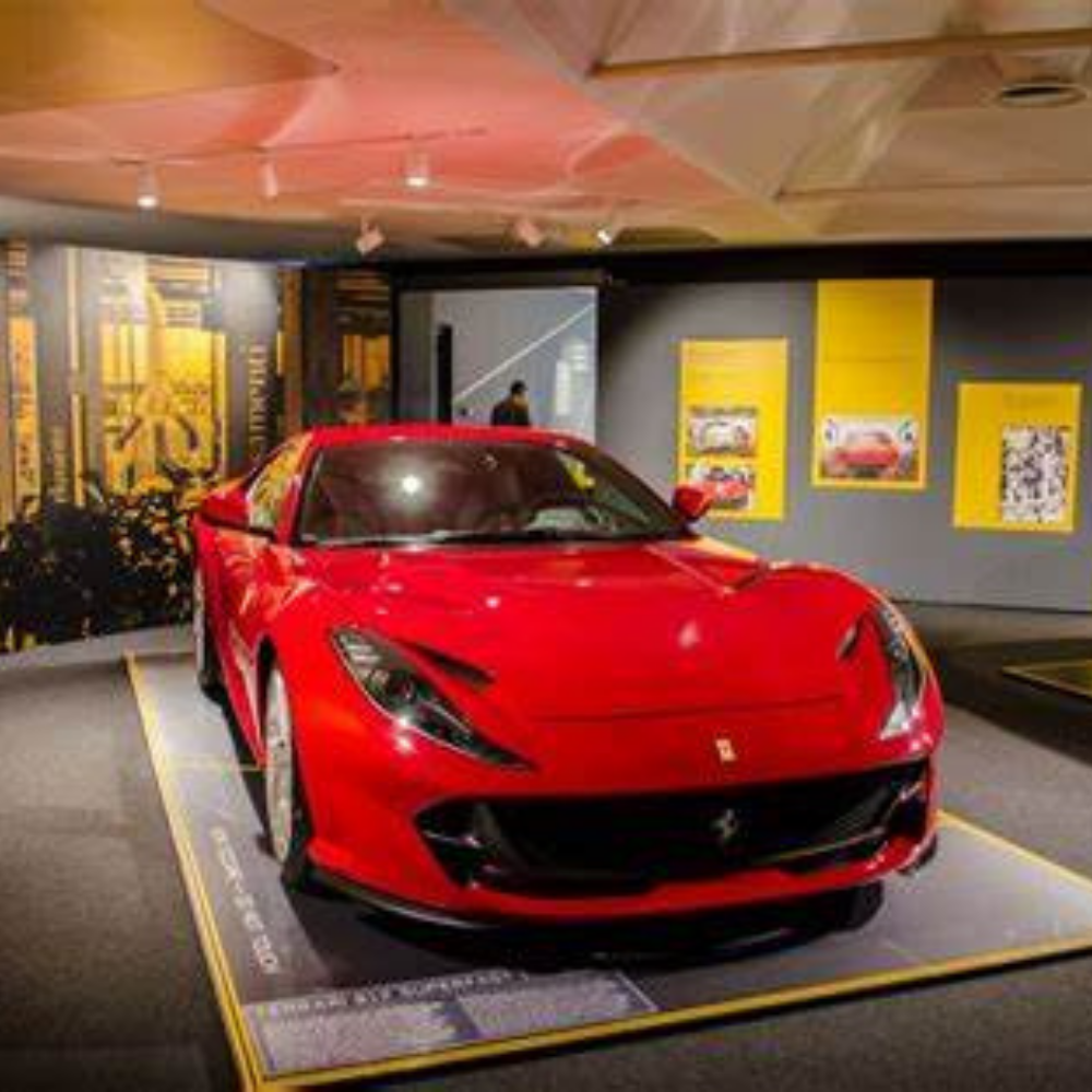 A red Ferrari in the Ferrari Museum