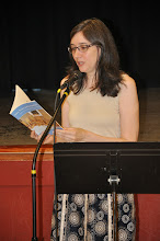 Photo: Elizabeth Carroll Hayden, assistant editor of the RASP poetry anthology, reads her contribution.