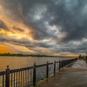 Riverwalk by Donna Sparks - Buildings & Architecture Bridges & Suspended Structures ( detroit river, sunset, boardwalk,  )
