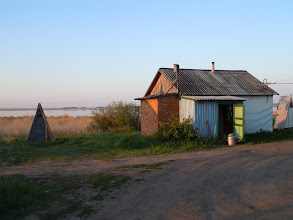 Photo: Our cabin at the Karasuk field station. The latrine is the triangular building