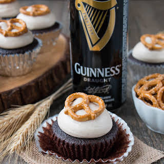 Chocolate Guinness Cupcakes with Maple Cinnamon Frosting.
