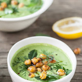 Chilled Cucumber-Tahini & Herb Soup with Cumin-Spiced Roasted Chickpeas.