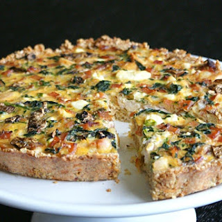 Chicken, Spinach & Feta Quiche with a Quinoa + Parmesan Crust.
