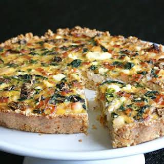 Chicken, Spinach & Feta Quiche with a Quinoa + Parmesan Crust.