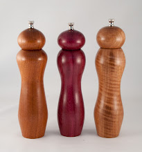 "Photo: Tim Aley 3"" x 10"" pepper mills [Utle, Purple Heart, Asian Satinwood]"