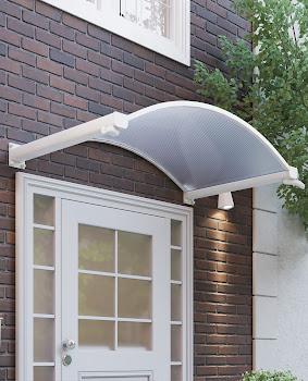 Auvent marquise de porte Trendline, 160 x 90 cm, vouté, polycarbonate alvéolaire transparent, fixations aluminium blanc, gouttière intégrée