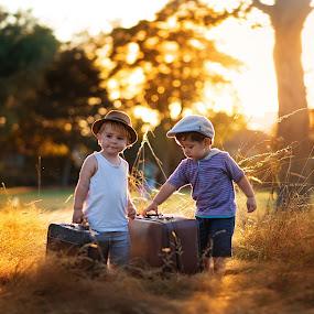 Walking through the World by Piotr Owczarzak - Babies & Children Children Candids ( child, uk, england, park, london, sunset, boys, children, childhood, cute, light, sun )
