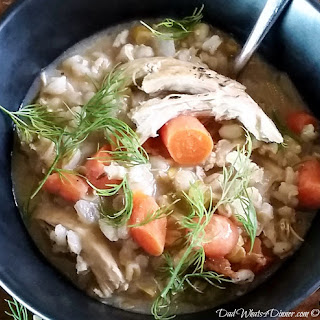 Panera Copycat Slow Cooker Creamy Chicken Barley Soup.