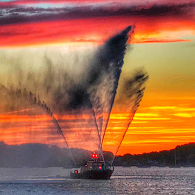 Spray  by Ann Goldman - Transportation Boats ( #fireboat #sunset #boat #water #spray,  )