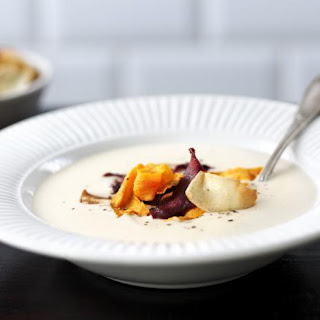 Curried Roast Parsnip Soup with Vegetable Chips Recipe