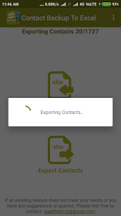 Backup Contact To Excel (Import & Export To XLSX) 2