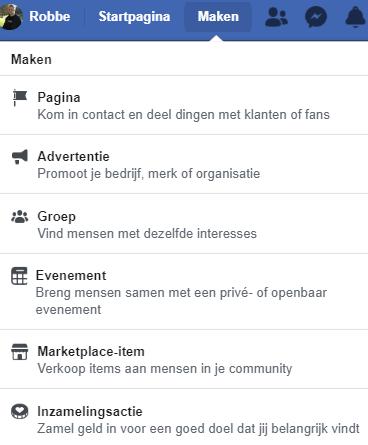 Facebookpagina aanmaken in de oude versie