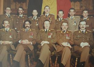 Photo: 15 Nov 1979 Adjt Aesseloos, MDl Ruelle, ?, ?, Adjt Dekuyper, Adjt Janssen, WM Bruyninckx. Kapt Haseldonckx, Maj SBH Simons, Kol Gijsemans, Cdt Thielemans, Capt Driessens