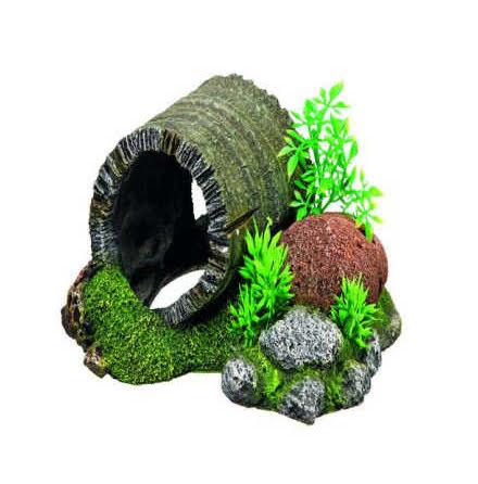 Trännunnel med växter 18,5x15,5x9 cm