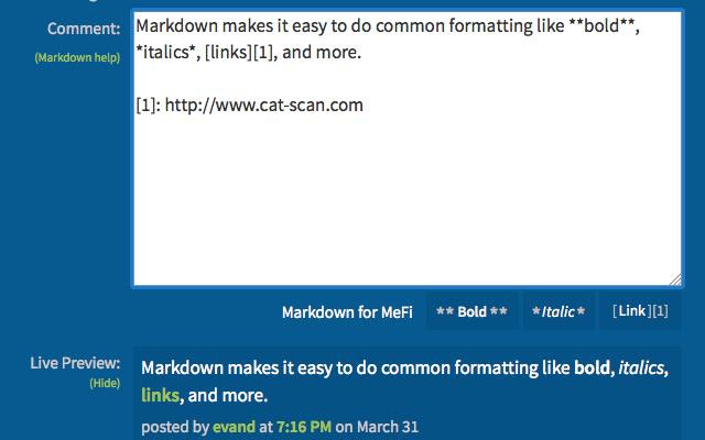 Markdown for MeFi