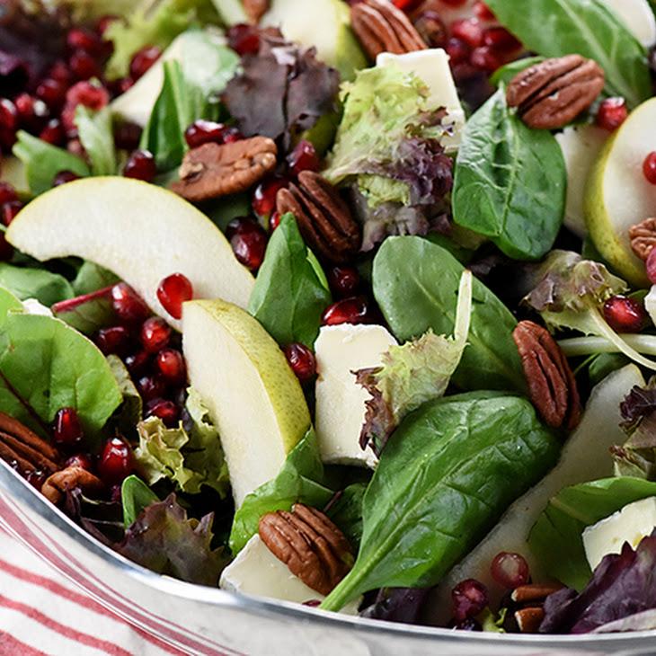 Pomegranate, Pear, Pecan, & Brie Salad ~ AKA, Thanksgiving Salad
