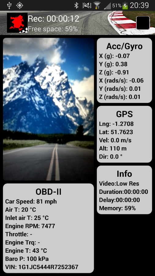 TrackSpy Dashcam Preview- screenshot