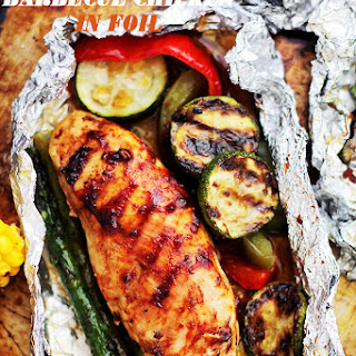 Grilled Barbecue Chicken and Vegetables in Foil.