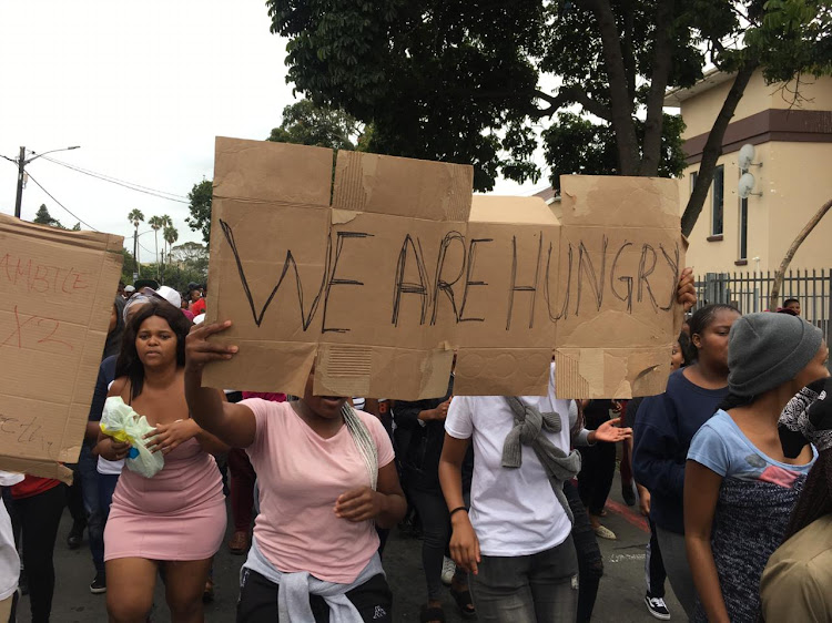 Students from Walter Sisulu University in East London protest over the non-payment of allowances.